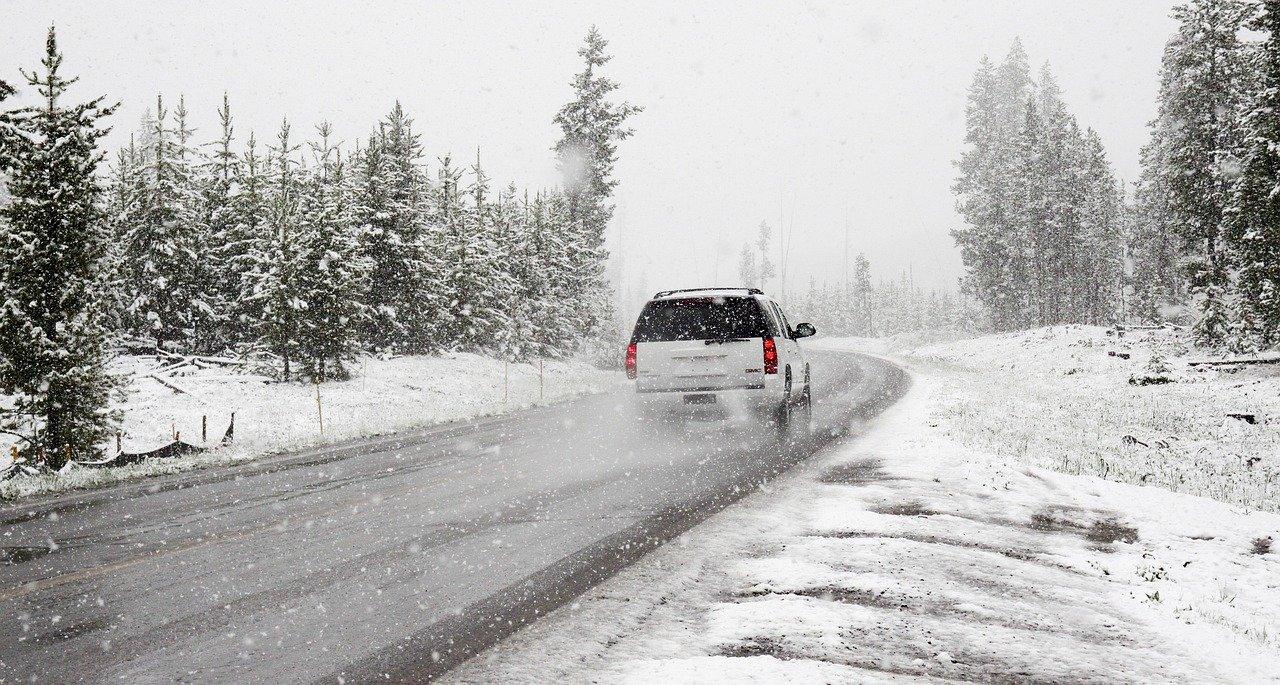 snow, road, winter
